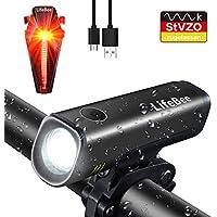 LIFEBEE LED Fahrradlichter Set, StVZO Zugelassen LED Fahrradlicht Fahrradbeleuchtung Fahrradlampe USB Wiederaufladbare Set Wasserdicht Frontlicht Rücklicht 2600mAh 300Lumen Licht für Fahrrad Set