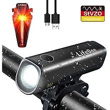 LIFEBEE LED Fahrradlicht Set, StVZO Zugelassen LED Fahrradbeleuchtung  Fahrradlampe Fahrradlichter USB Wiederaufladbare Set Wasserdicht Frontlicht