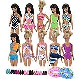 Lance Home® 5 Set Fatto a Mano Moda Spiaggia Bikini Nuoto Estate Spiaggia Balneazione Abbigliamento per 29cm Bambola Giocattoli Casuale Stile (5 Costumi da Bagno + 5 Sandali + 2 Giri di Nuoto)