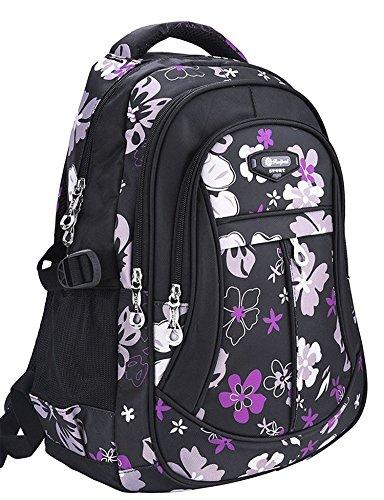 Unisex Zaino Scuola per Elementare e Media impermeabile Schoolbag Casuale per Ragazze Scuola Borse Zaini Borsa Scuola Borse da Viaggio (Nero)