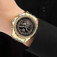 GuTe Lujo hombres reloj de pulsera automático mecánico de Gold-tone Wind Esfera de color negro luminoso de GuTe Trade
