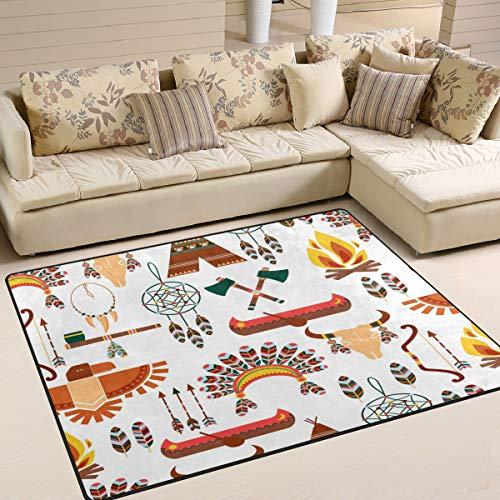 Use7 tapete étnico Azteca Tribal Americano atrapasueños Pluma Alfombra Alfombra Alfombra para salón Dormitorio, Tela, 203cm x 147.3cm(7 x 5 Feet)