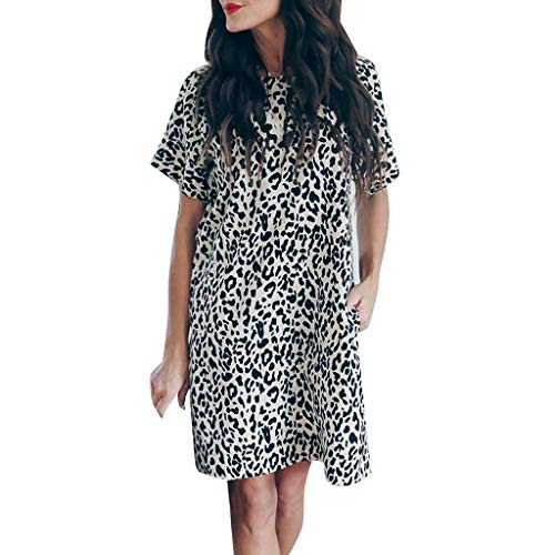 Sommerkleid Sexy Fashion Ladies Leopard Splice Print Tasche Casual Sommerfest - Little Lady Flower Girl Dresses