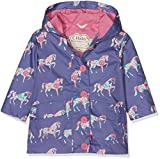 Hatley Girl's Cotton Coated Raincoat, Purple (Floral Horses), 3 Years