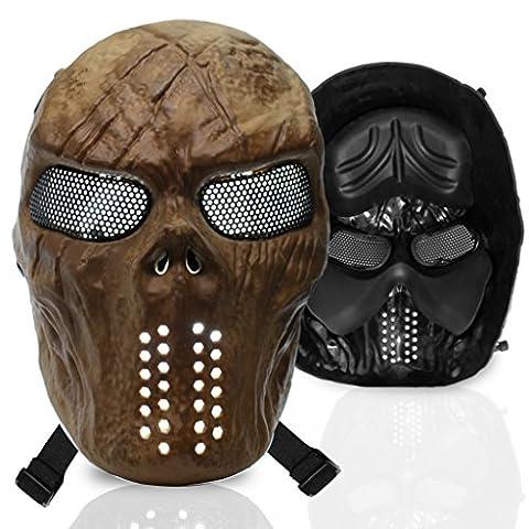 Stargoods Skeleton AirSoft Mask - Metal Mesh Paintball, BB Gun, & CS Games - Gold