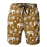 Men's Quick Dry Swim Trunks Elephant House - Interior Design, Home Decor, Elephant, Palm Trees, Block Print, Block Printed Wallpaper, Ginger Colorful Beach Shorts with Mesh Lining