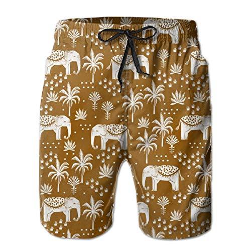 Volcom-print-shorts (Men's Quick Dry Swim Trunks Elephant House - Interior Design, Home Decor, Elephant, Palm Trees, Block Print, Block Printed Wallpaper, Ginger Colorful Beach Shorts with Mesh Lining)