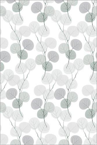 Posterlounge Holzbild 120 x 180 cm: Silberne Blätter von Editors Choice