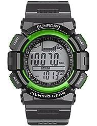 Sunroad fr711a Digital todo en uno 3ATM impermeable hombres reloj redondo pesca barómetro altímetro termómetro pantalla LCD relojes verde