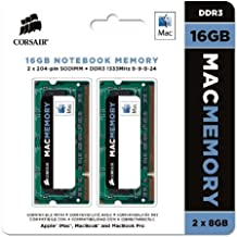 Corsair Mac Memory - Memoria para Apple Mac de 16 GB (2 x 8 GB, DDR3, SODIMM, 1333 MHz, CL9, certificada por Apple) (CMSA16GX3M2A1333C9)