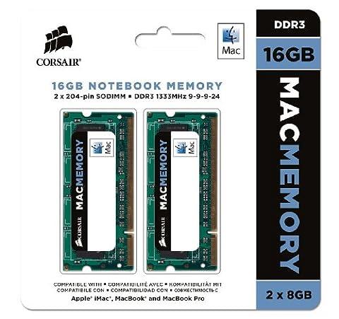 Corsair CMSA16GX3M2A1333C9 Apple Mac 16GB (2x8GB) DDR3 1333Mhz CL9 Apple Zertifiziert SO-DIMM Kit