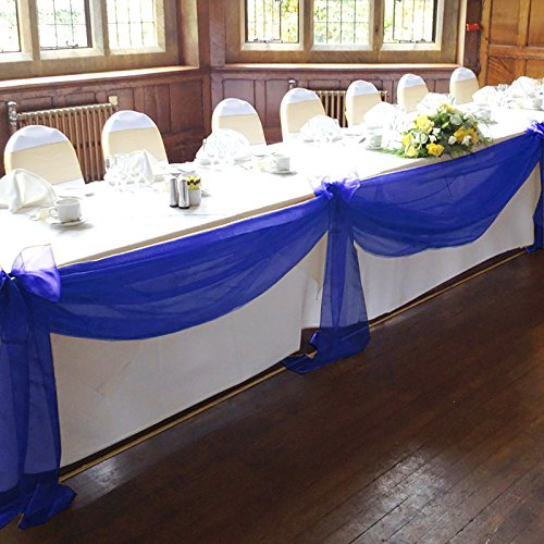 Wedding top table decorations amazon vlovelife royal blue 5m135m sheer organza swag fabric top table swag diy wedding car party stair bow valance decorations junglespirit Choice Image