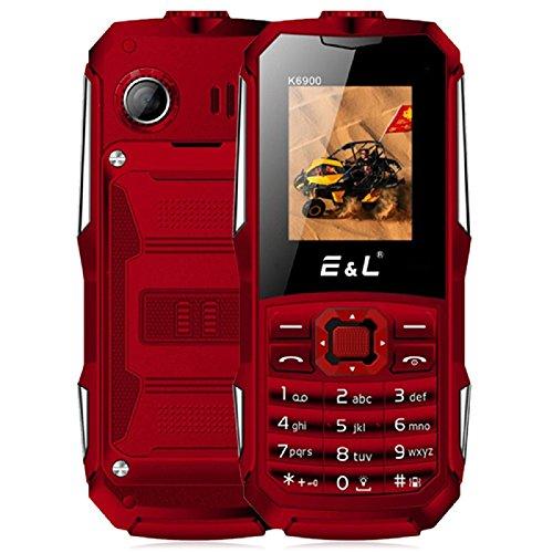 Preisvergleich Produktbild Mobiltelefon 2G Ohne Vertrag - EL K6900 Seniorenhandy mit Großer Tasten (IP68 Wasserdicht, Stoßfest, Staubdicht, LED Taschenlampe, 2000mAh Akku, Dual-SIM-Dual Standby) (Rot)