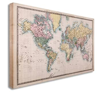 Vintage world map countries style wall picture prints canvas art vintage world map countries style wall picture prints canvas art cheap 20x30 inches amazon kitchen home sciox Images