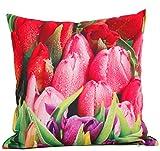 Kissen Outdoor mit Photoprint Blumen Deko Wendekissen für Garten Camping Balkon oder Terasse 45x45 cm (knallige rote Tulpen)