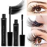 ASKSA 4D Mascara Kit Wimperntusche mit Fiber Set Makeup Wimpern Augenbrauenserum Wimpernverlängerung Wasserdicht schwarzer Länger Dicker Wimpern