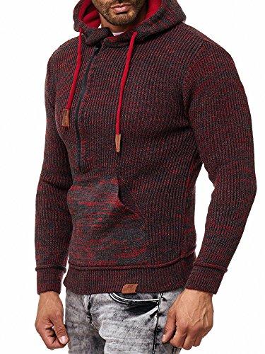 RUSTY NEAL Herren Strick-Pullover Strickjacke mit Kapuze Gr. S bis 4XL RN-13277 Anthrazit / Rot