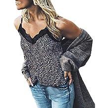 Luckycat Mujeres Sexy Cuello en V Estampado de Leopardo Encaje Camisa Tanque Chaleco Blusa Tops