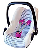 ByBoom - Universal Sommerbezug, Schonbezug aus 100% Baumwolle mit Streifen für Babyschale, Autositz, z.B. Maxi Cosi CabrioFix, City, Pebble; Designed in Germany, MADE IN EU, Farbe:Weiss/Streifen-Blau