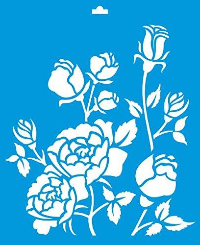 21cm x 17cm stencil di plastica per decorazione parete muro tessuto maglietta aerografo progettazione disegno grafica - primavera estate fiori foglie piante verdi rose