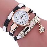 vovotrade Moda encanto de las mujeres abrigo alrededor de cuero artificial de cuarzo reloj de pulsera(Negro)