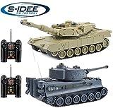 s-idee® 22001 2 x Battle Panzer 99822 1:28 mit integriertem Infrarot Kampfsystem 2.4 Ghz RC RC Ferngesteuerter Panzer Tank Kettenfahrzeug IR Schussfunktion Licht 1:24 Schuss Sound Beleuchtung