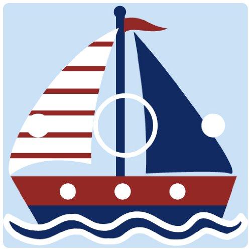 stika.co Lichtschalter-/Steckdosenaufkleber für Jungen, Blaues Segelboot, Vinyl, Blue, White, Red, Light Switch [Rotary with