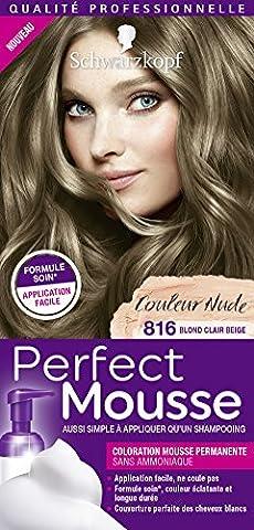 Schwarzkopf Perfect Mousse Coloration Permanente Blond Clair Beige 816