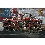 ETA-TM Metall-Bild 3D Motorrad US Route 66 Art Metall bemalt auf Holz Maße: 80 x 120 x 7 cm Wanddekoration, Metall Metalltafel US. Dekoration, modernes Design Exklusiv. en Stock