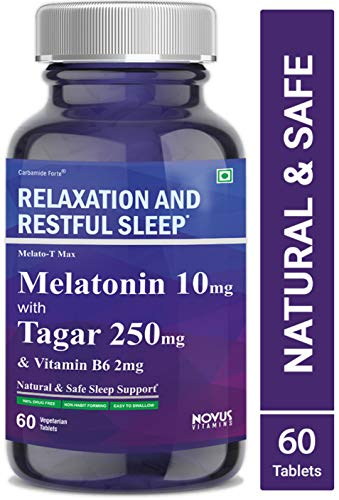 Carbamide Forte Melatonin 10mg with Tagara 250mg Sleeping Aid Pills for Deep Sleep | Non Habit Forming Sleep Supplement - 60 Veg Tablets