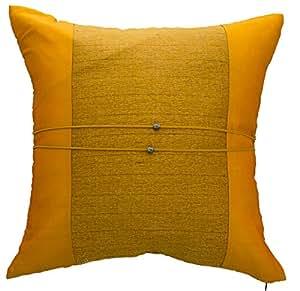 Avarada Housse de coussin rayée au centre Satin de soie Jaune or 45 x 45 cm