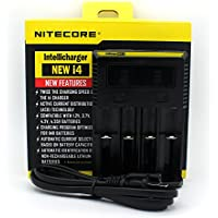 Nitecore i4 (New 2017 version) Intelligent Battery Charger with UK 3 PIN Plug for Rechargeable Li-ion / IMR / Ni-MH/ Ni-Cd 26650 22650 18650 18490 18350 17670 17500 17335 16340 RCR123 14500 10440 AA AAA AAAA C D Batteries