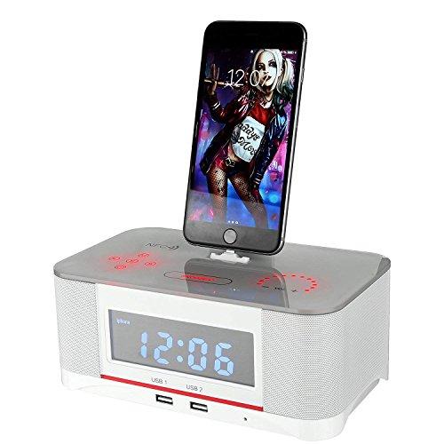 PowerLead Altoparlante Bluetooth 4.0, radio multifunzione, radio FM, orologio digitale, sveglia doppia, schermo intero, compatibilità NFC, base lampo per iPhone/iPad/iPod, speaker senza fili