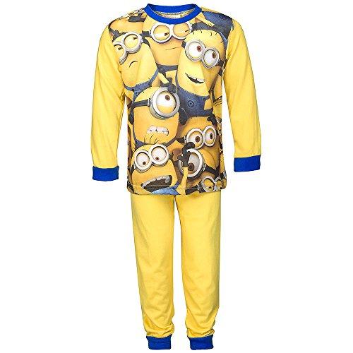 Jungen Schlafanzug, Minions Pyjama Hose Top Schlafanzug Print Reißverschluss, Gelb Blau, in Größe 110/116 (Hose Gelbe Pyjama)