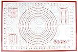 Homankit Rouge Tapis de pâtisserie en silicone avec mesures/Tapis de fondant rouleau à pâtisserie/Rouleau à travail mat| 40 x 60 cm, 8 cercles Outil pâte Outil, macaron, Biscuit/Cookie tool| Bâtons complet à comptoir, réutilisable, flexible, Anti-Adhérent, facile à nettoyer | une cuisson saine sans outil, sans BPA et FDA et LFGB