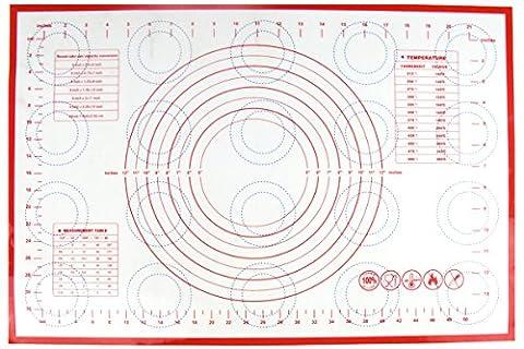 Homankit Rouge Tapis de pâtisserie en silicone avec mesures/Tapis de