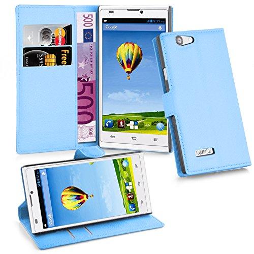 Cadorabo - Book Style Hülle für ZTE BLADE L2 - Case Cover Schutzhülle Etui Tasche mit Standfunktion und Kartenfach in PASTEL-BLAU