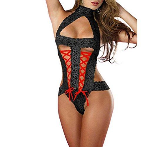 Siamois Lingerie Sexy Femme, LANSKIR Mode Femmes Sexy Dentelle Racy sous-Vêtements Pimenter Costume sous-Vêtements Tentation pansements