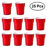 OUNONA 25 Stücke Einwegbecher Plastikbecher Verdickt für Party Picknick 200ml (rot)