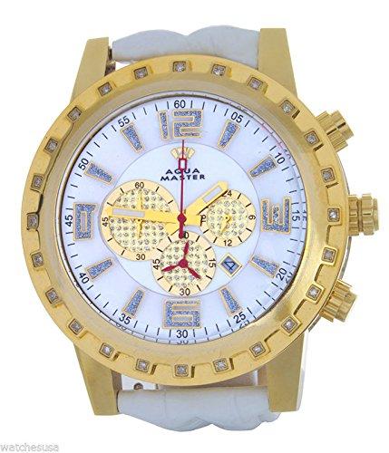 Aqua Master reloj para hombres caso diamante bisel blanco cuero banda cronógrafo reloj W138
