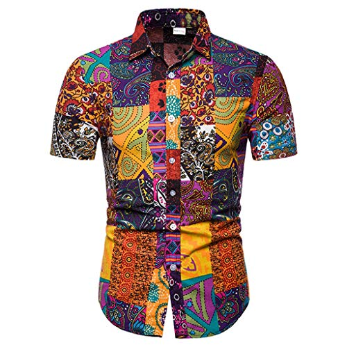 Hffan Herren Strand Hawaiihemd Kurzarm Urlaub Hemd Herren Hawaiihemd Hawaiishirt Sommer Hemd Strandhemd Freizeithemd Hawaii-Print mit Kurzarm Slim Fit -