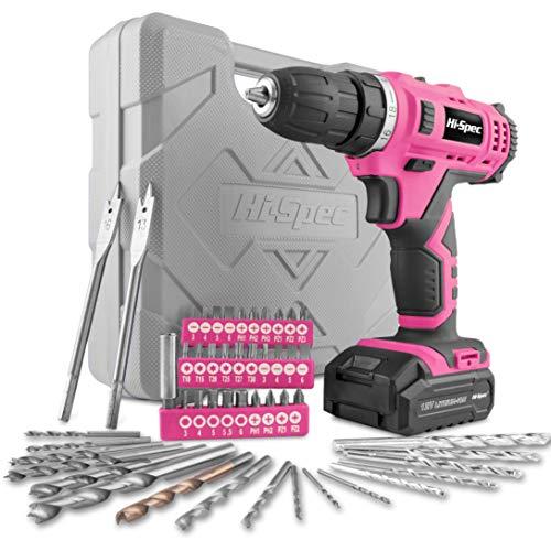 Hi-Spec 49-teiliges Akkubohrmaschinenset mit 12V Bohrer in Pink Rosa und den gebräuchlisten Holz, Metal und Steinbohraufsätzen in in praktischer Box für die Frau im Haus ...