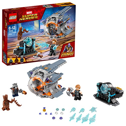 LEGO 76102 Heroes Marvel Avengers Infinity War Weapon Quest Playset, Thor Rocket and Groot Figures, Build and Play Superhero Toys for Kids