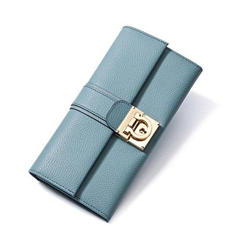 Cuoio genuino delle donne 2 volte Portafoglio donna Multi-carta di solido di colore del sacchetto di frizione di blocco fibbia borsa lunga fodera in poliestere borsa , linen blue