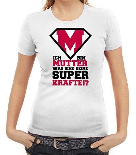 Geschenkidee Damen T-Shirt mit Supermutter Motiv von ShirtStreet Weiß