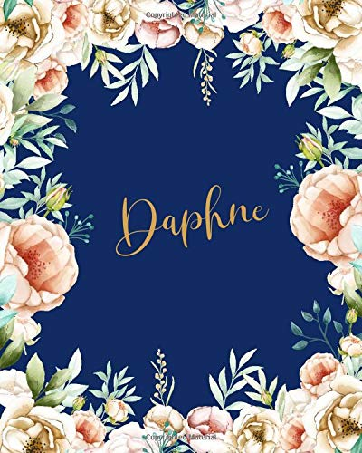 Daphne Dotted Journal: Custom Name Notebook/Journal |Personal Diary |Dot Grid Bullet|Writing Diary Paper |Gift for Teachers Girls Womens Friends |Birthday Valentines Gift |Gold Flower Blue
