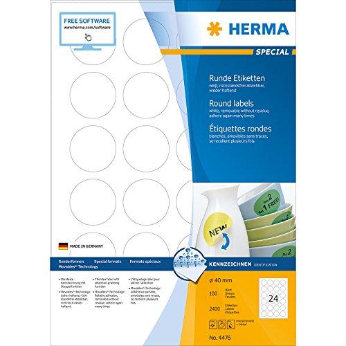 Herma 4476 Etiketten (A4 Ø40 mm rund Movables/ablösbar Papier matt) 2400 Stück weiß