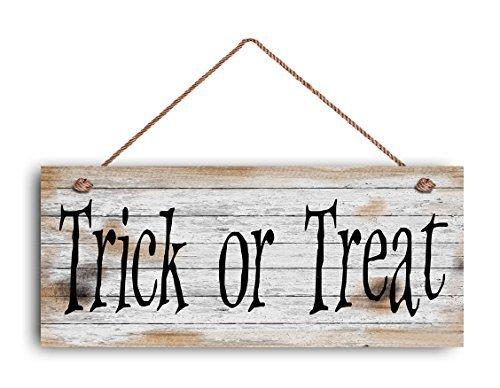 oween Türschild, Greet The Trick oder Haus zu Haus ziehenden Kinder damit zu empfangen mit 6& quotx14& Quot Schild Halloween Holzschild Schild. (6 Halloween-tricks)
