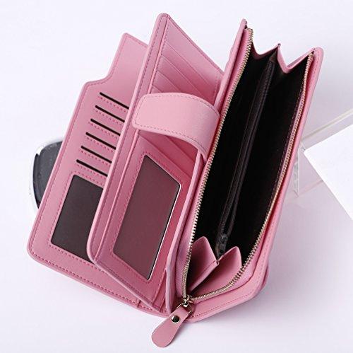 BOSTANTEN Vera Pelle Donna Portafoglio Cuoio Portamoneta Portatessere Porta Carta Di Credito A Polso rosa