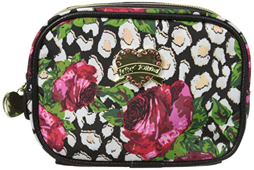 Betsey Johnson Roses Over Cheetah Cub Singular Cosmetic Case, Roses Over Chetah, One Size - Betsey Johnson Rose
